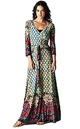 Tua USA 3/4 Sleeve Jewel Toned Exotic Print Wrap Knit Maxi Dress (Large, Jewel Toned Print)