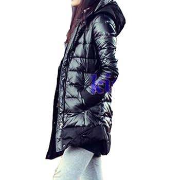 9cdb68cb6 Womens Zip Up Shine Casual Outwear Down Coat Hooded Slim Winter Warm Down  Coat