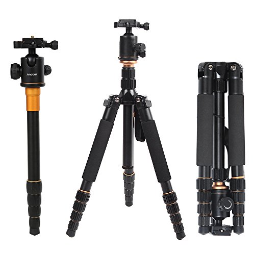Andoer Q-666 Pro SLR Camera Tripod monopiede Ball Head Changeable Traveling Compact Portable