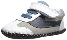 pediped Originals Cliff Casual Sneaker (Infant), White/Navy, Small (6-12 Months)