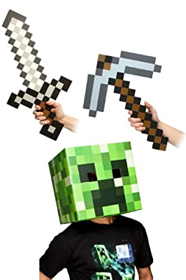Minecraft 12 Creeper Head Sword Pickaxe Costume Kit by toynk