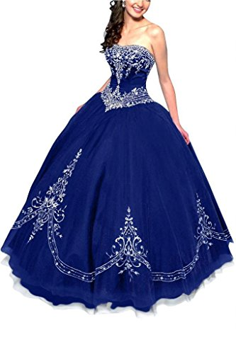 DLFASHION Women's Strapless Ball Gown Embroidered Quinceanera Dress Size 14 Royal Blue (Blue Quinceanera Dresses compare prices)