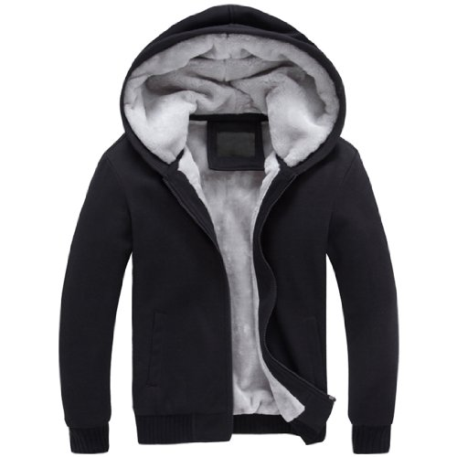 Mens Winter Thicken Warm Outerwear Hoodie (Medium, Black)