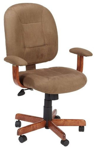 Cappuccino Microfiber & Oak Mid-Back Ergonomic Office Task Chair
