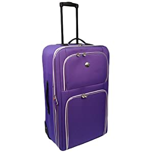 Wheeled Large 28 Expandable Lightweight Suitcase Trolley With Locking Telescopic Handle Internal Trolley Frame With External Pockets In Purple With Silver Detail
