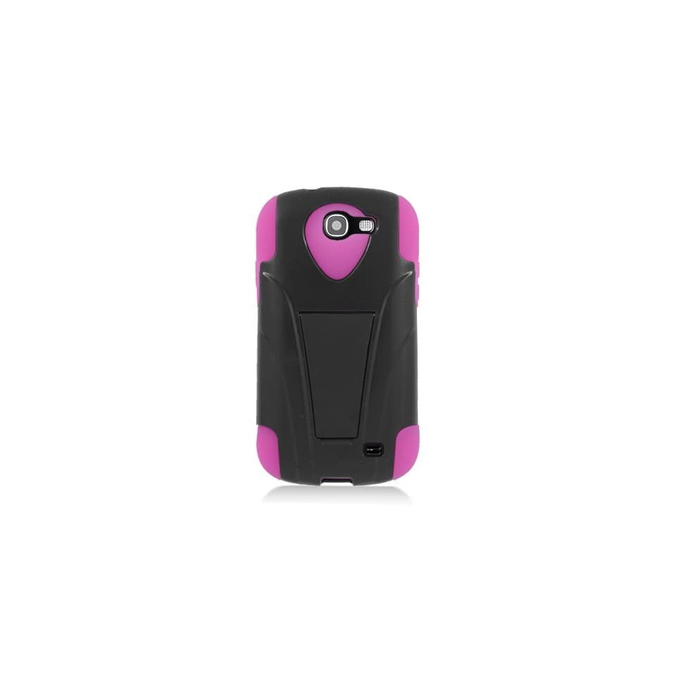 Eagle Cell PHSAMI437YSTHPKBK HypeKick Hybrid Protective Gummy TPU Case with Kickstand for Samsung Galaxy Express i437   Retail Packaging   Hot Pink/Black Cell Phones & Accessories