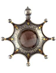 Exotic India Faceted Smoky Quartz Large Pendant - Sterling Silver