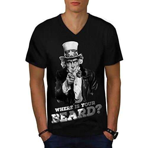 Dove È Il tuo Barba Zio Sam Uomo Nuovo Nero M T-Shirt | Wellcoda