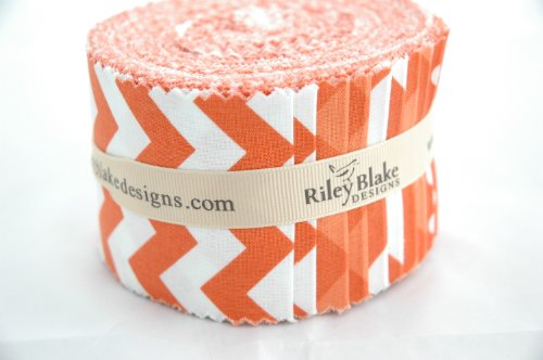 Riley Blake BASICS VARIETY ORANGE Rolie Polie 24 2.5 inch Jelly Roll Strips Quilt Fabric RP-60-24 (Quilt Fabric Jelly Roll Dots compare prices)