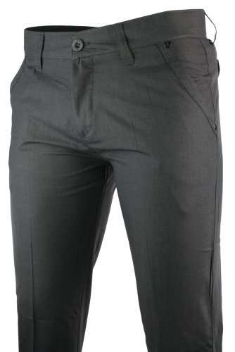 Mens Slim Fit Trousers Charcoal Grey Pocket Stud Black Design Italian Smart