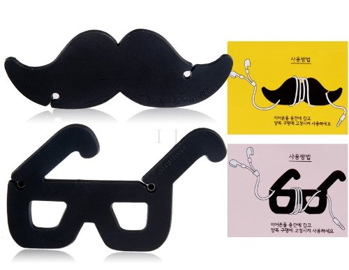 Sky Buddy Moustache & Glass Shaped Headphone Audio Cord Cable Winder Tie Organiser 2Pc Set (Black)