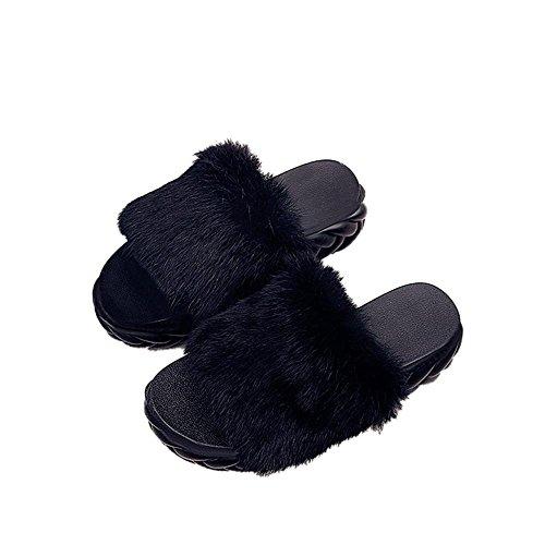 JIAJIA Moda autunno spesse scarpe da portare peluche peluche skid scarpe donna sandali pantofole casa pantofole 2 3 4 5 6 7 8 9 10 11 12 35 36 37 38 39 40 , black , 37