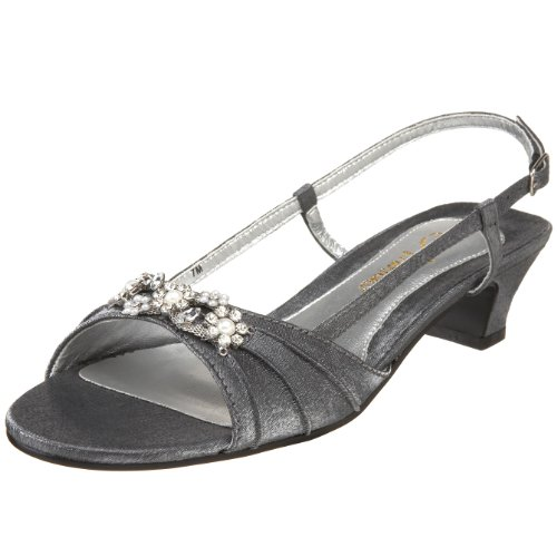 Annie Shoes Women's Aliza Slingback,Pewter Satin,7 WW US