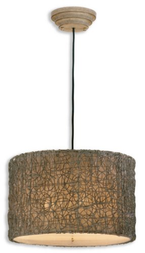Uttermost 21105 Knotted Rattan -Light Hanging Shade, Chai Finish