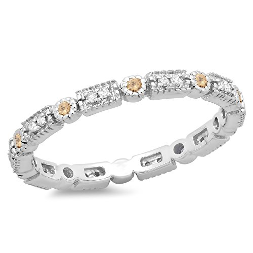 025-Carat-ctw-14K-Gold-Round-Champagne-White-Diamond-Ladies-Wedding-Eternity-Stackable-Band-14-CT