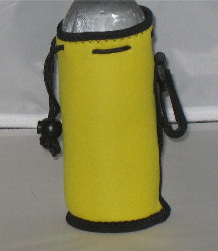 Water Bottle Koozie 2 Pack With Drawstring & Clip, Yellow front-685086