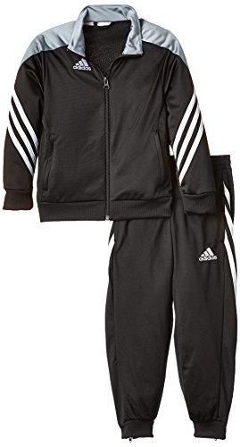 Adidas, Tuta da calcio Bambino, Nero (Black/Silver/White), 11 anni