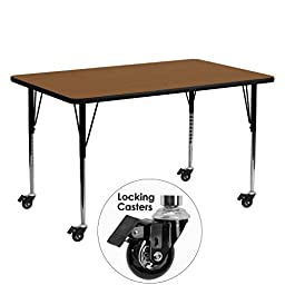 MFO Mobile 24\'\'W x 60\'\'L Rectangular Activity Table with 1.25\'\' Thick High Pressure Oak Laminate Top and Standard Height Adjustable Legs