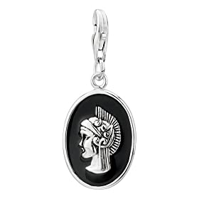 Amore Lavita(tm) Oval Elegant Female Avatar Dangle Sterling Silver Clasp Charms Christmas Gifts: Pugster