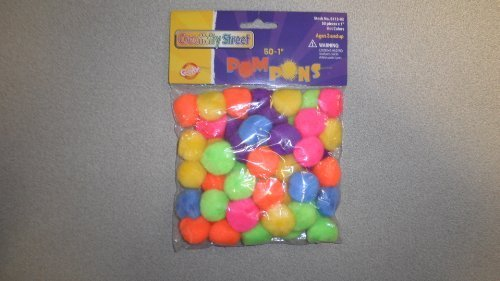 Chenille Kraft Acrylic Soft N Lively Mini Non-Toxic Pom Pon, 1 in, Assorted Hot Color, Pack of 50