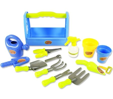 Little garden tool box 14pc toy gardening tools set for for Gardening tools kit set