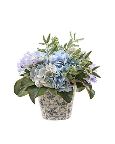 Winward Faux Hydrangea/Olive Leaf in Ceramic Pot, Blue