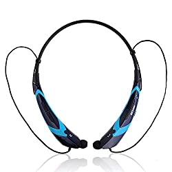 Ecandy Universal Wireless Bluetooth 4.0 Music Stereo Headset Headphone Neckband Style In-Ear for iPhone iPad Samsung LG ,Smartphones ,Tablets and other Bluetooth Devices,Black/Blue