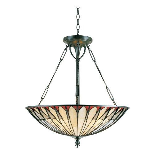 B000UNMF0U Quoizel TF1816VB Tiffany 25-Inch Pendant with Four Uplights, Vintage Bronze Finish