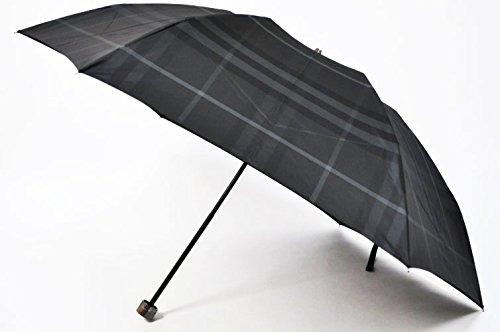 (バーバリー)BURBERRY メンズ チェック デザインが素敵な 折りたたみ 雨傘 / 黒チェック