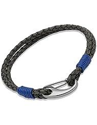 Unique Men 21cm Antique Black Leather Bracelet with Steel Shrimp Clasp and Royal Blue Binding