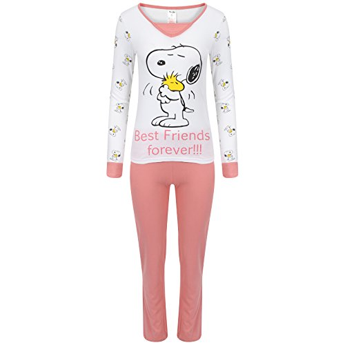 Da donna Manica lunga Set Pigiama Snoopy con Topolino e Minnie PJ Pigiama Donna Snoopy 'Best Friends forever!!!' M