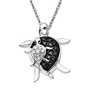 10k White Gold Mother and Baby Turtle Diamond Pendant (0.08 cttw, I-J Color, I2-I3 Clarity), 18""