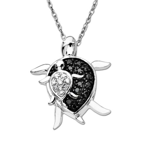 10k White-Gold Mother and Baby Turtle Diamond Pendant (0.08 cttw, I-J Color, I3 Clarity), 18″