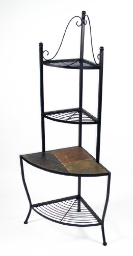 4D Concepts Corner Baker's Rack  Slate Top, Metal/