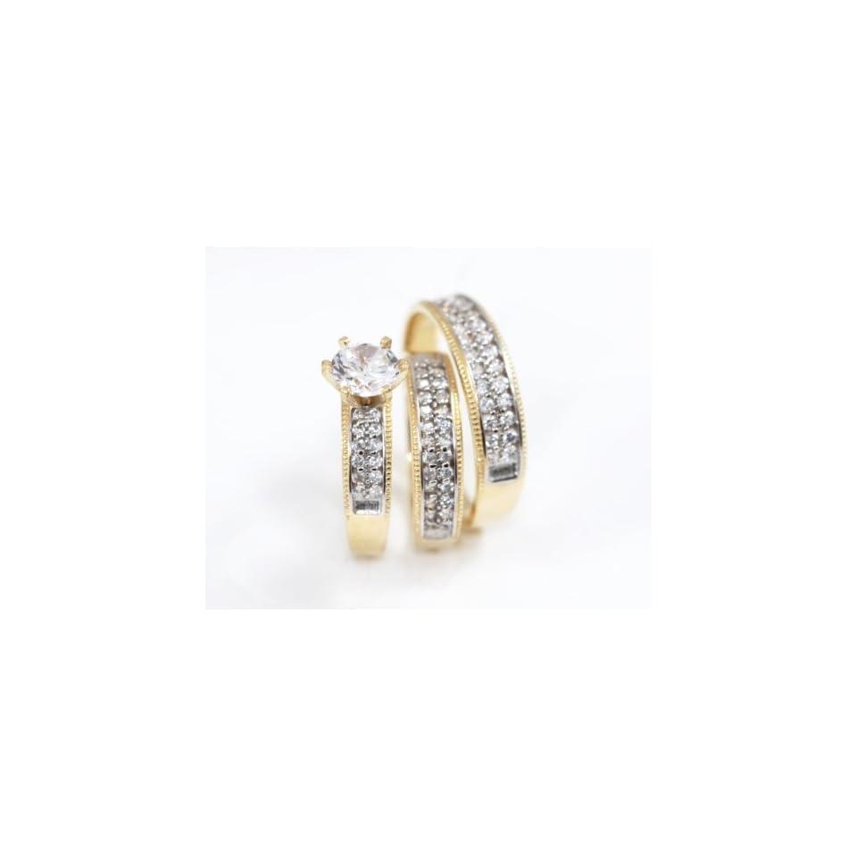 14k Yellow Gold CZ Ladies & Men His Hers Bridal Ring Engagement Wedding Trio Set   2