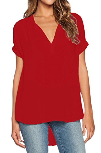 Dearlovers Women Plus Size V Neck Short Sleeve Blouse Shirts Tops Large Red (Plus Size Red Shirt compare prices)