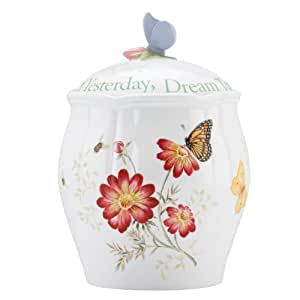 Lenox Butterfly Meadow Sentiment Cookie Jar, Cherish Yesterday Dream Tomorrow Live Today, 9-1/2-Inch