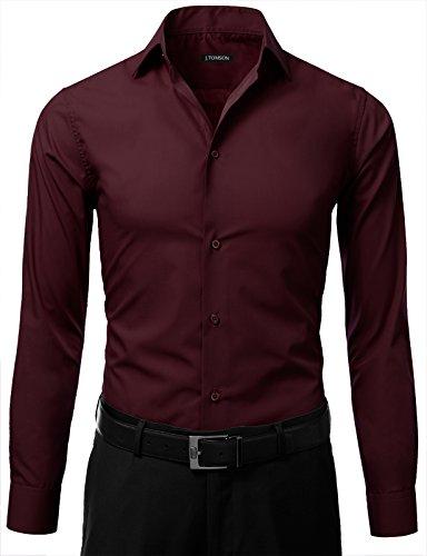 Idarbi men 39 s slim fit color longsleeve dress shirt for Burgundy fitted dress shirts