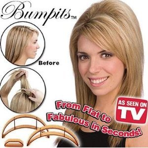 New Big Happie Hair - Hair Volumizing Inserts Bumpits - Brown 5 Pieces Set & Instructions Included