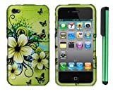 Apple Iphone 4 Or Apple Iphone 4S Combination - Premium Pretty Design Protector Hard Cover Case / 1 of New Metal Stylus Touch Screen Pen (Apple Green Butterfly Flower)