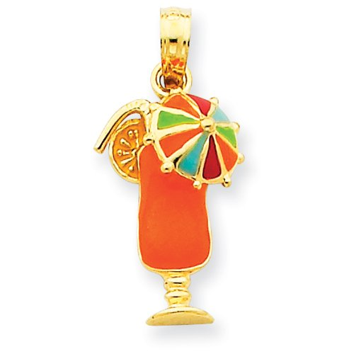 14k Gold Orange Enameled Tropical Drink Pendant