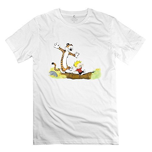 Funny Thomas Hobbes Tiger Calvin Short Sleeve T Shirt Size XXL White