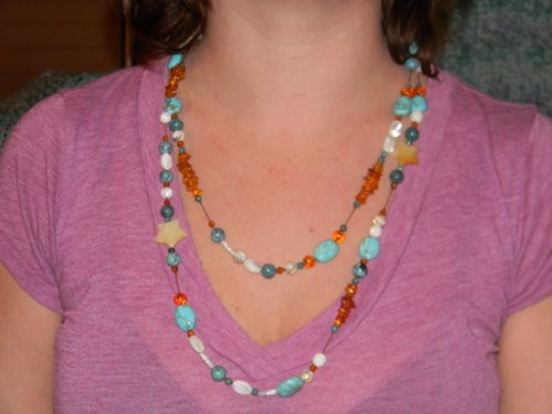 Necklace. Turquoise, Shell, Amber, Shell Stars. 44