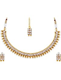 Bling N Beads Gold Plated Ethnic Polki Indian Jewellery Set With Earrings