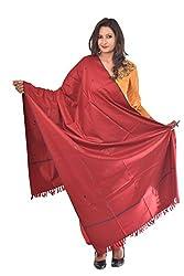Weavers Villa - Womens Kashmiri PolyWool Red Shawls ,Stoles