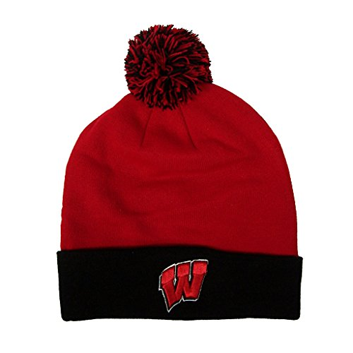 Wisconsin Badgers NCAA Pom Cuffed Knit Two Tone Beanie Stocking Hat Cap 048468 (Wi Badger Hat compare prices)