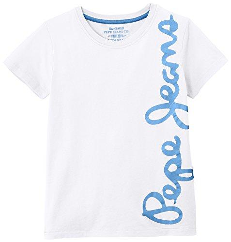 Pepe Jeans Jungen T-Shirt, WALDO SHORT, GR. 176 (Herstellergröße: 16 ans), Weiß (Optic White)