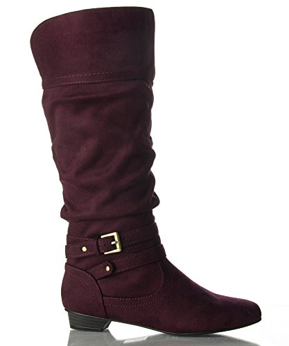Soda Vegan Suede Strappy Mid Calf Pointy Toe Kitten Heel Equ