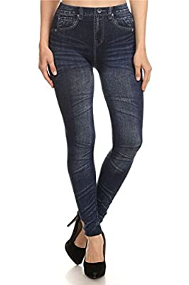 ShoSho Women's Plus Size Denim Jean Look Printed Jeggings Leggings