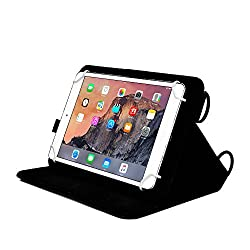 Cooper Cases(TM) Magic Carry HP 7 Plus/G2-1331, 7 G2, Stream 7, Stream 8 4G LTE Tablet Folio Case w/ Shoulder Strap in Black (PU Cover, Built-in Viewing Stand, Elastic Hand-Strap and Stylus Holder)